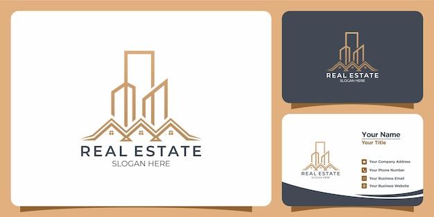 Минималистский строительный логотип с дизайном логотипа в стиле line art и шаблоном визитной карточки