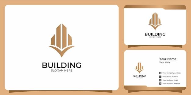 라인 아트 스타일 로고 디자인 및 명함 템플릿이 있는 미니멀리즘 건물 로고