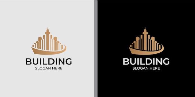 ラインアートスタイルのロゴデザインとミニマリストの建物のロゴ