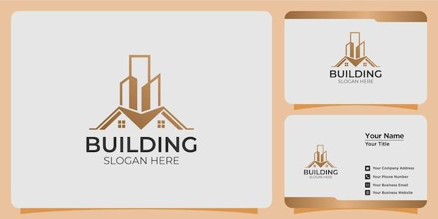 モダンなスタイルのロゴデザインと名刺テンプレートを備えたミニマリストの建物のロゴ