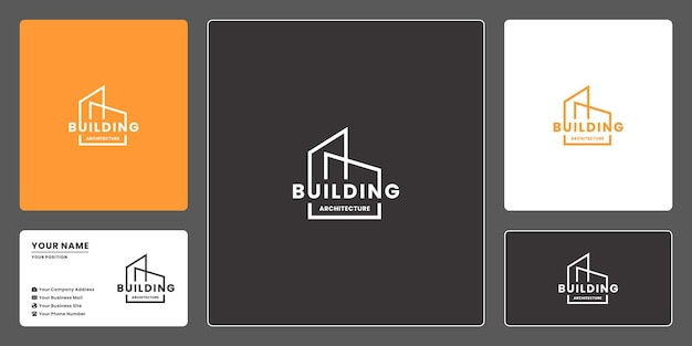 Minimalist building with typography logo design for real estate