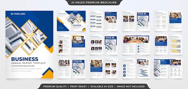 Minimalist business bifold brochure editable layout template premium vector