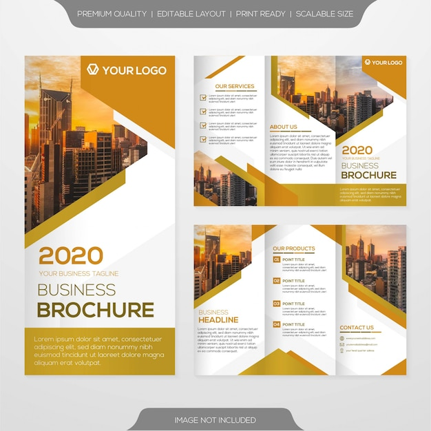 Minimalist business brochure template and rollup