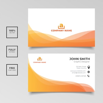 Minimalist business card. gradient orange and white color horizontal simple clean template vector design