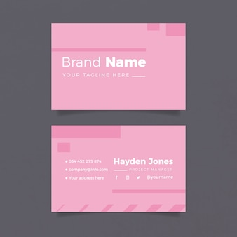 Minimalist business card template in pink tones