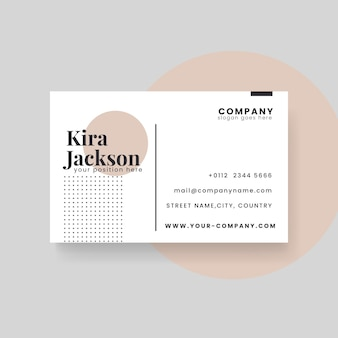 Minimalist business card template with circle and dots