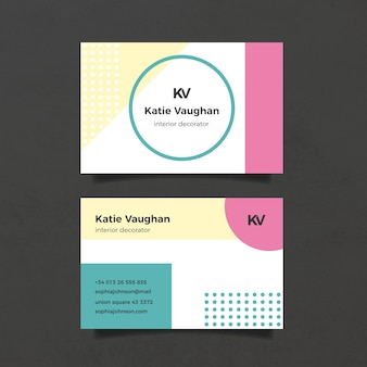 Minimalist business card template with dots