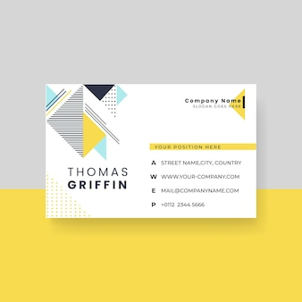Minimalist business card template with memphis design
