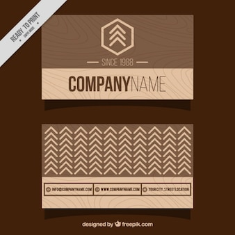 Minimalist business card with wooden design