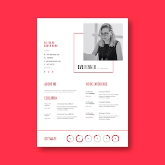 Minimalist business cv template and avatar