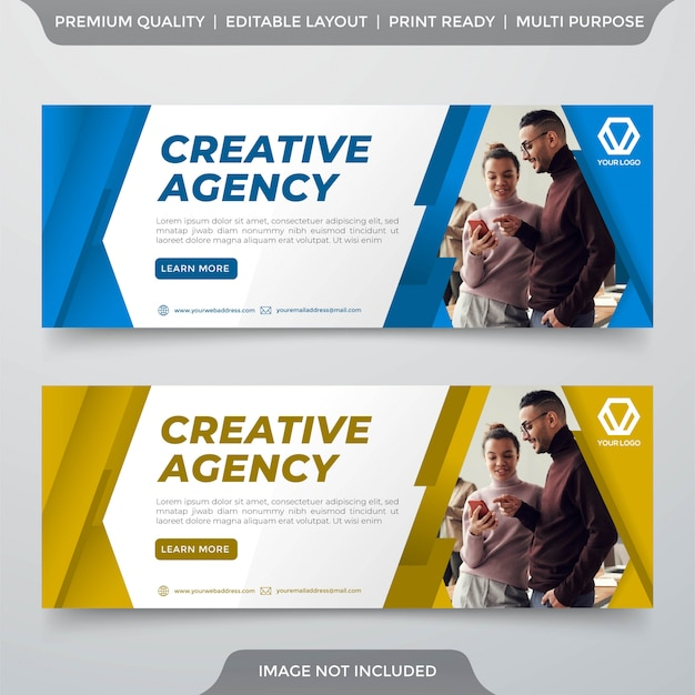 Minimalist business web banner design template