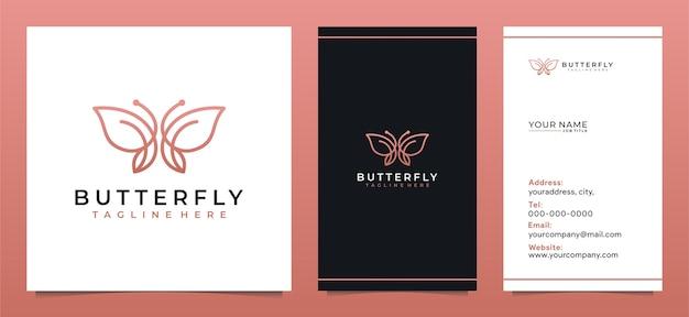 ミニマリストの蝶ラインアートのロゴデザインとモダンな名刺