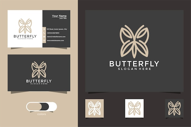 Minimalist butterfly line art logo design and business card