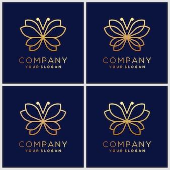 Minimalist butterfly line art monogram shape logo. beauty, luxury spa style.