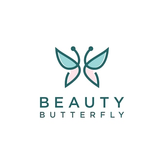 Minimalist butterfly line art monogram shape logo