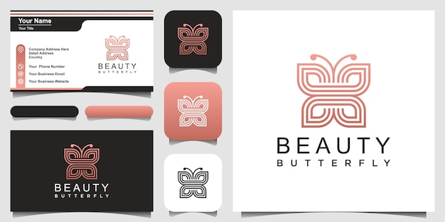 Minimalist butterfly line art style. beauty, luxury spa style. logo and business card design.