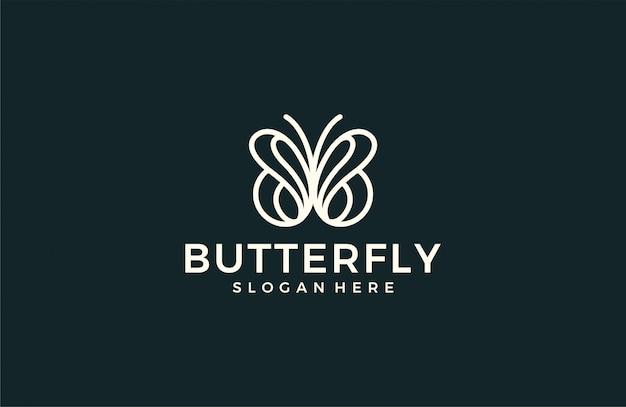 Минималистичный логотип линии бабочки