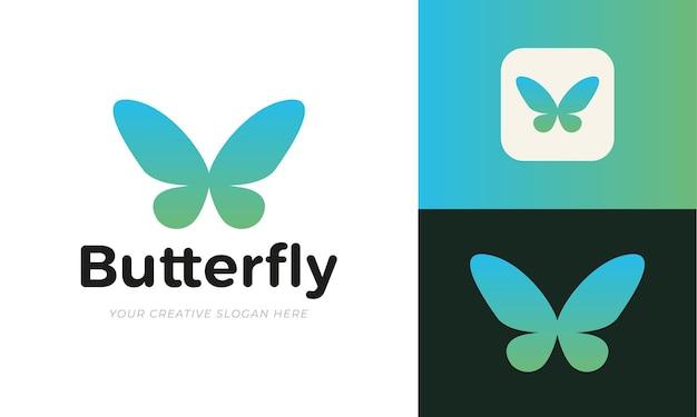 ミニマリストの蝶のロゴのテンプレート