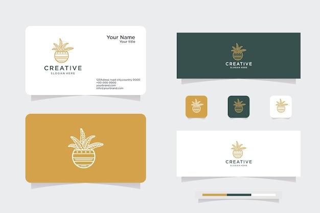 ミニマリストのサボテンのロゴデザインのインスピレーションカバーと名刺