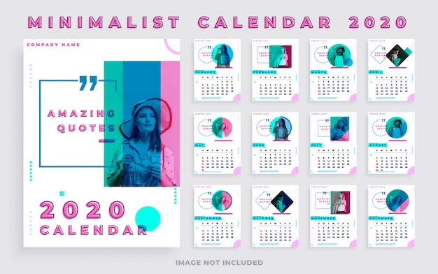 Minimalist calendar 2020 portrait with photo and quotes