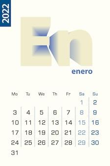 Минималистский шаблон календаря на январь 2022 года, вектор календарь на испанском языке