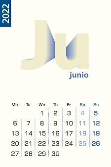 Минималистский шаблон календаря на июнь 2022 года, вектор календарь на испанском языке.