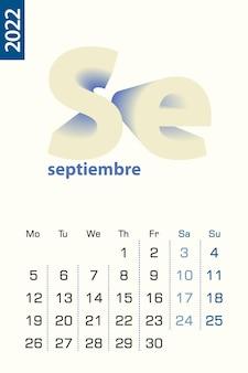 Минималистский шаблон календаря на сентябрь 2022 года, вектор календарь на испанском языке.