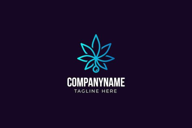 ミニマリストの大麻の葉のロゴ
