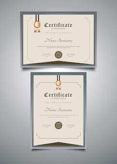 Minimalist certificate templates with vintage style