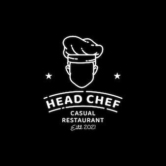 カフェバークラシックヴィンテージレストランのロゴデザインのミニマリストシェフのロゴ