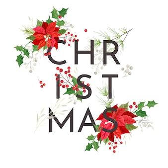 Minimalist christmas poinsettia flower card, vector party invitation template, modern xmas foliage stationary, season decoration, winter frame design illustration, floral greetings 2020