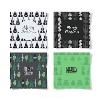 Minimalist christmas tree cards collection