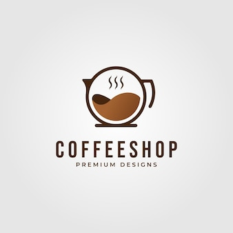 회색에 고립 된 미니멀리스트 커피 숍 로고