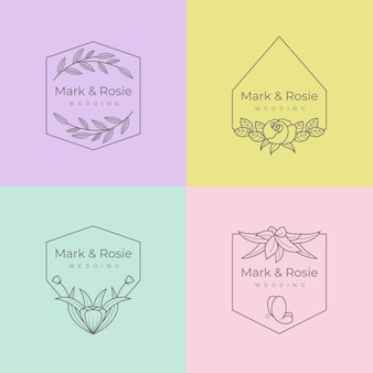Minimalist collection wedding monograms in pastel colors