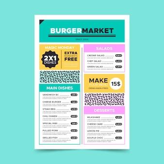 Minimalist colorful menu page template