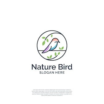 Minimalist combine bird and nature with line art style logo template.