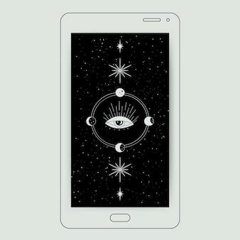 Minimalist conceptual galaxy illustration mobile wallpaper