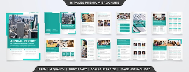Minimalist corporate brochure layout template with modern style use for company profile