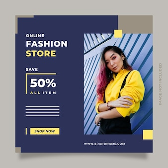 Minimalist and creative fashion sale design template promotion with modern blue yellow color