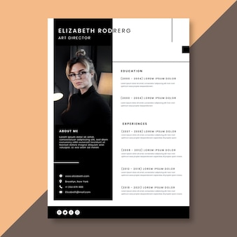 Minimalist curriculum vitae template with photo