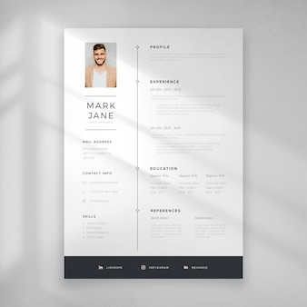 Minimalist cv template for employment
