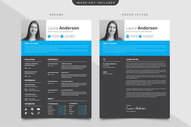 Minimalist cv template with cover letter template