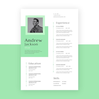 Minimalist cv template with photo space