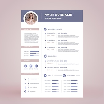 Minimalist cv template with photo
