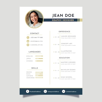 Minimalist cv template with rounded picture