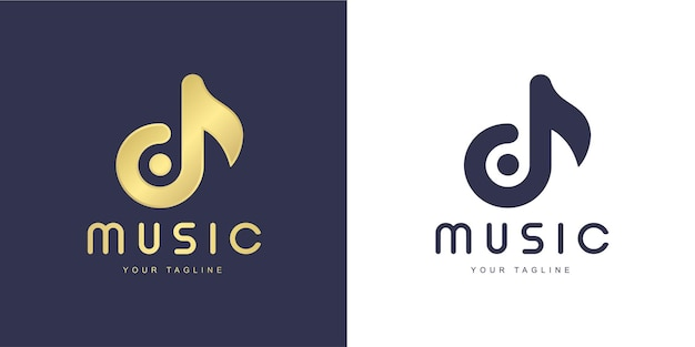 「音楽」と「歌」のコンセプトを持つミニマリストd文字のロゴ