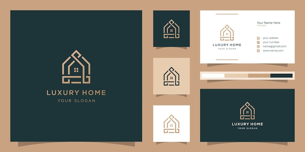 Minimalist design of home linear style icon. logo and business card templates