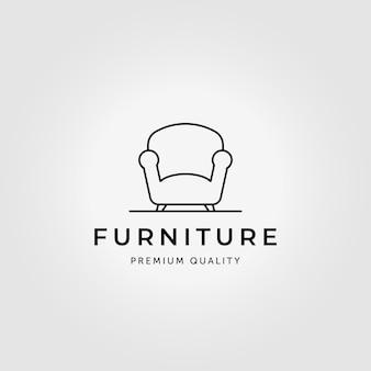 Minimalist divan logo line art illustration vector design