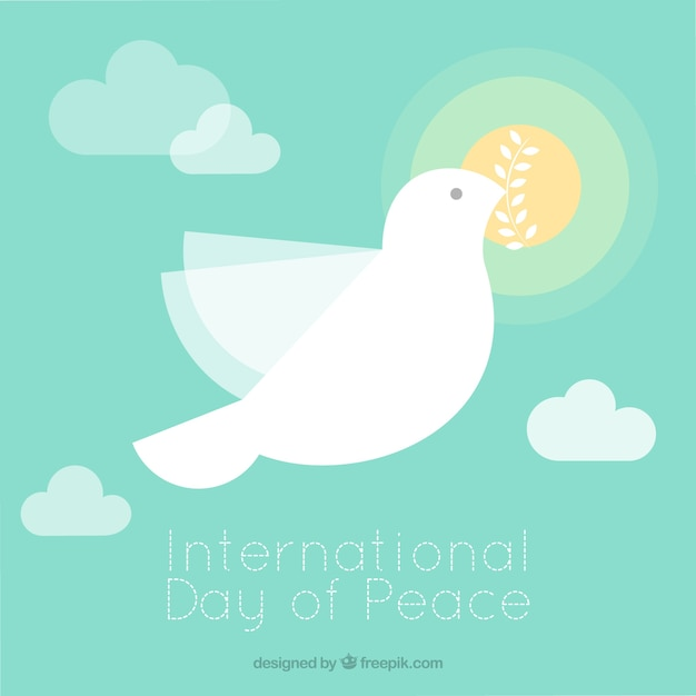 Minimalist dove flying with sun background