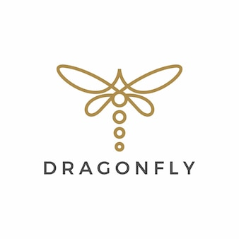 Minimalist dragonfly outline logo